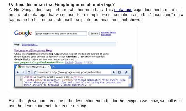 מטא דסקריפשן וקידום אתרים - תגובת גוגל